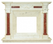 Kominek portalowy Korynt biały i czerwony marmur wymiary (szer/wys/głęb): 160/130/30