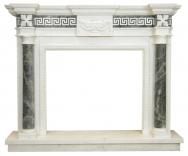 Kominek portalowy Olimp biały i zielony marmur wymiary (szer/wys/głęb): 145/120/30
