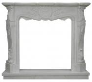 Kominek portalowy Avignon biały marmur wymiary (szer/wys/głęb): 150/130/30