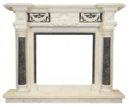 Kominek portalowy Pireus biały marmur + szary marmur wymiary (szer/wys/głęb): 160/130/30