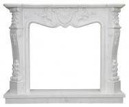 Kominek portalowy Montpellier biały marmur wymiary (szer/wys/głęb): 140/115/30