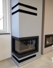 Kominek nowoczesny nr 20 wkład Oliwia L/BS DECO ramka stalowa grafit w koło wkładu